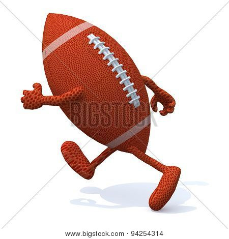 Rugby Ball With Arms And Legs Running