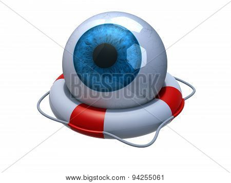 Blue Eyeball In Lifebuoy