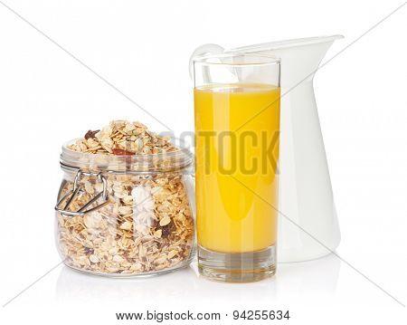 Healthy breakfast with muesli, orange juice and milk. Isolated on white background