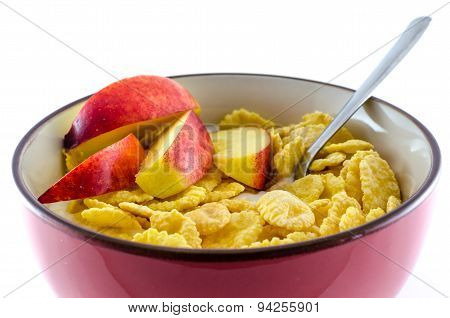 Breakfast with cornflakes on the white background