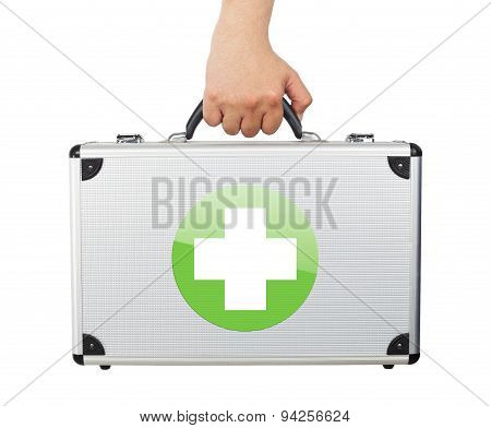 Male Hand Holding Equipments Luggage First Aid Isolated White Background.