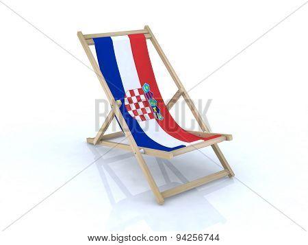 Wood Beach Chair With Croatian Flag