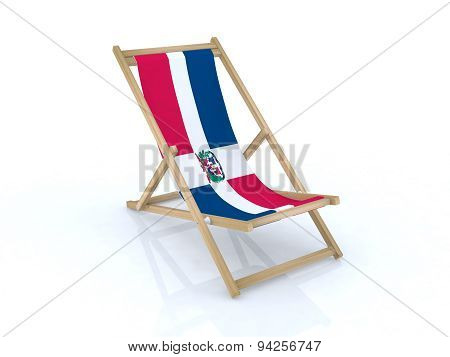 Wood Beach Chair With Dominican Flag