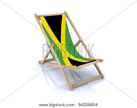 Wood Beach Chair With Jamaican Flag