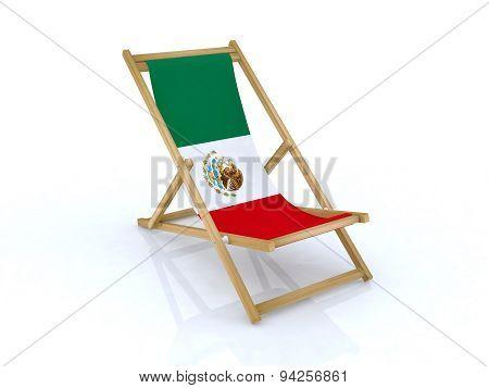 Wood Beach Chair With Mexico Flag