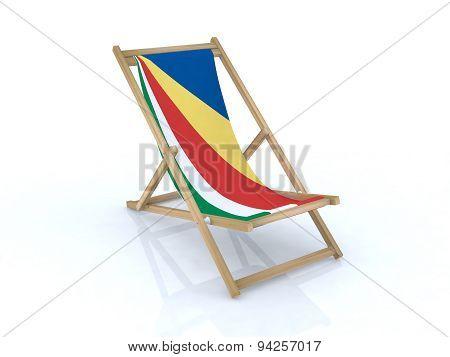 Wood Desk Chair With Seychelles Flag