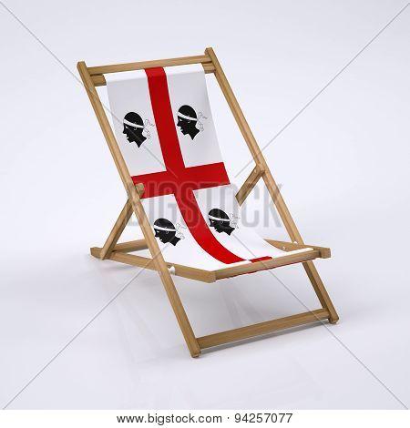 wood beach chair with sardinia flag