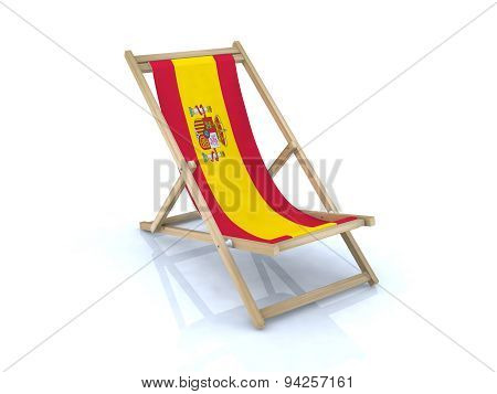 Wood Beach Chair With Spanish Flag