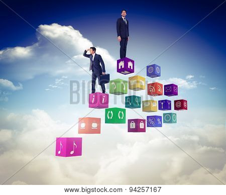 Businessman looking with his briefcase against bright blue sky with clouds