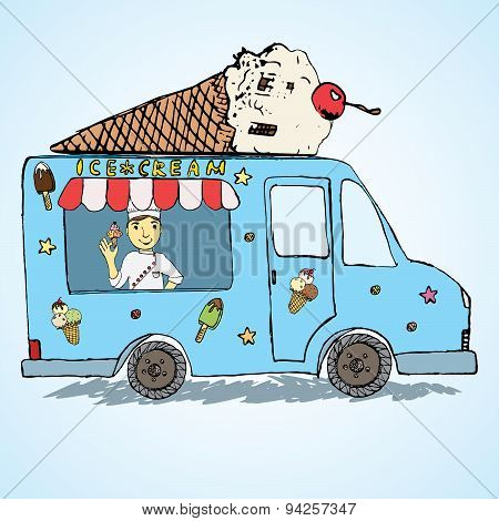 Hand Drawn Sketch Ice Cream Truck, Colorfiled And Playful With Yang Man Seller And Ice Cream Cone On