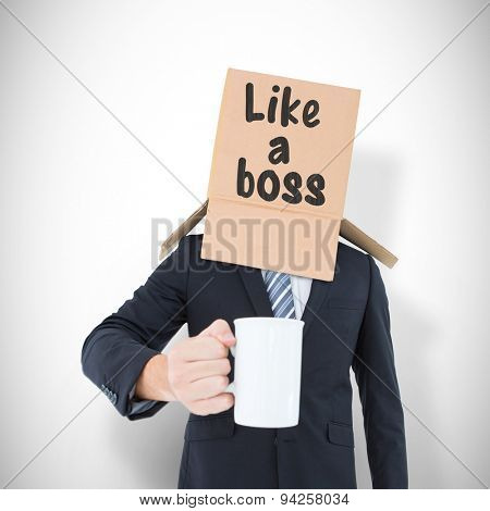 Anonymous businessman with mug against white background with vignette
