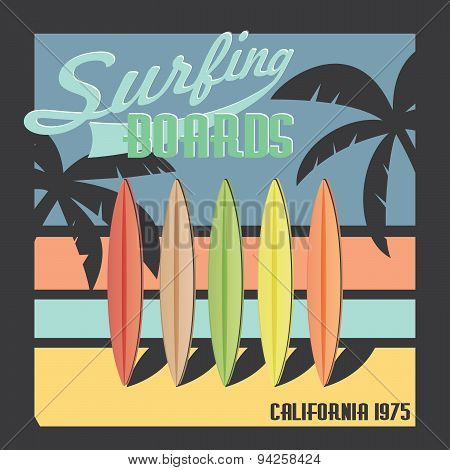 Surfing Boards California Typography, T-shirt Printing Design, Summer Vector Badge Applique Label