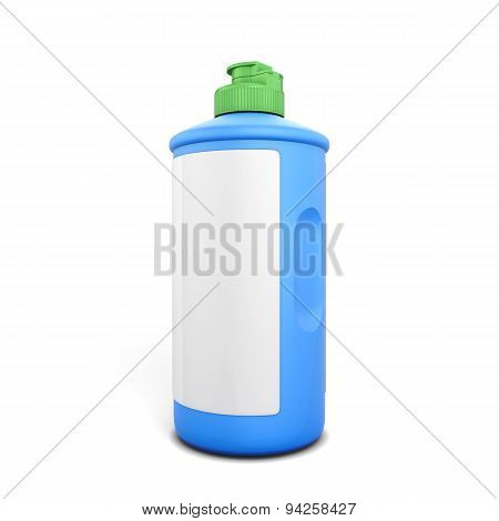 Blue Bottle Of Detergent With Label