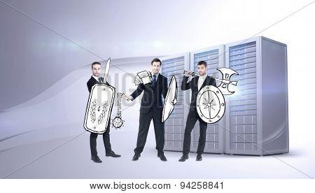 Corporate army against three digital grey server towers