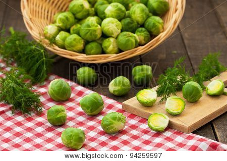 Brussels sprouts on rustic table