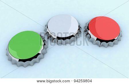 Green/white/red (italian Flag) Metal Cap