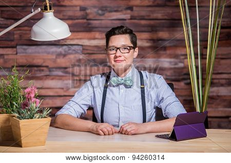 Dapper Woman In Hipster Office With Tablet