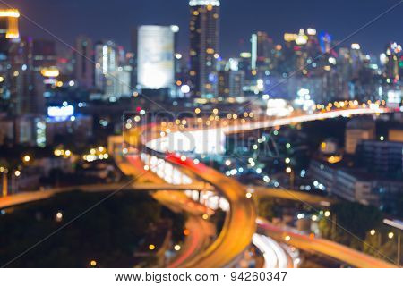 Abstract blur bokeh city freeway intersection night lights