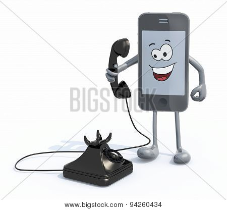Cartoon Smartphone With Arms And Legs Use An Old Telephone