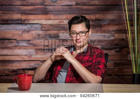 Smirking Butch Boss In Flannel