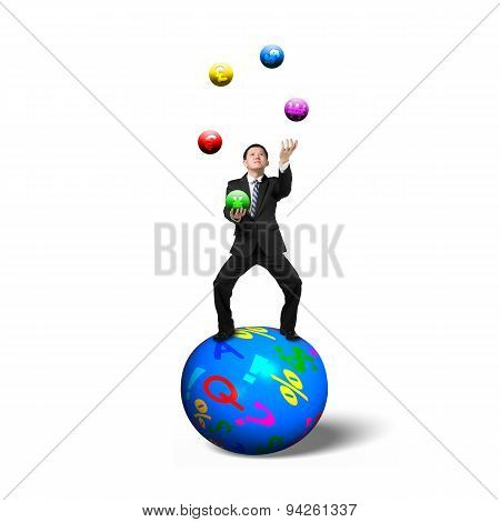 Businessman Balancing On Sphere Juggling With Currency Symbol Balls