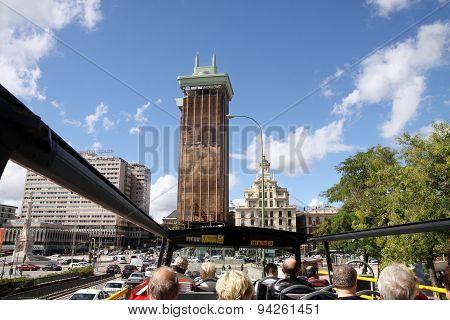 Trip In Madrid On A Tourist Bus. Gran Vía