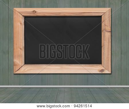 Blank Blackboard With Wooden Frame Hanging On Wood Wall