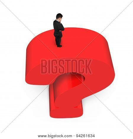 Businessman Standing On Huge 3D Red Question Mark White Background