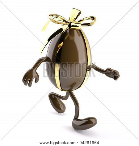 Chocolate Egg With Ribbon, Arms And Legs That Wal