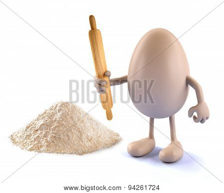 Egg, Rolling Pin And Farina