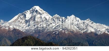 Panoramatic View From Jaljala Pass Of Dhaulagiri