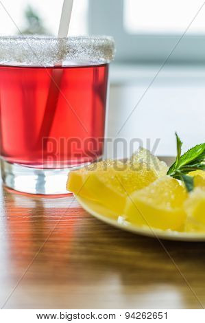 Bright Red Fruit Drink And Dessert.