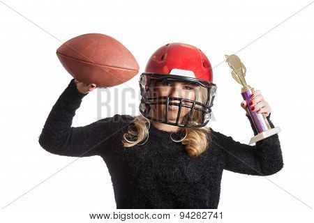 Pretty Blonde Celebrating Red Helmet Throwing Football