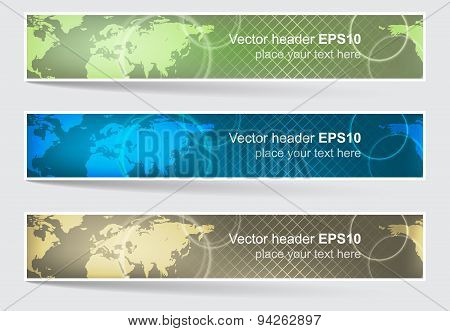 Vector Header Or Banner, World Map Background