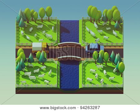 Sheep In The Landscape, Isometric View