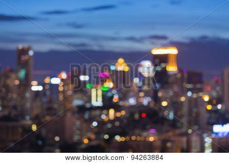 Bangkok Skyline at Night Blurred Photo bokeh