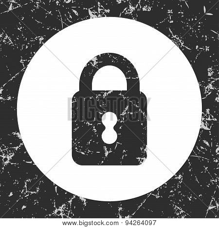 Grunge Gray Circle Icon - Closed Padlock