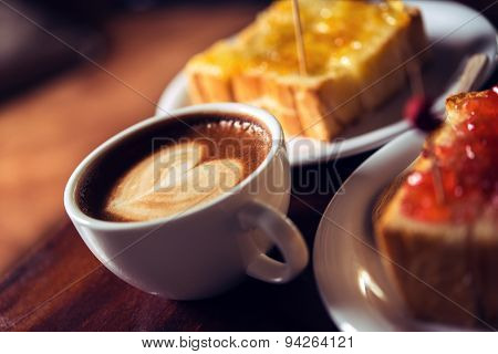 Coffee Mocha Hot On Wooden Table
