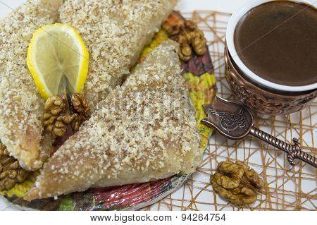 Greek Baklava With Lemon And Turkish Coffee Served