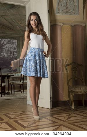 Fashion Girl In Aristocratic Interior