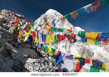 View Of Mount Pumo Ri With Buddhist Prayer Flags