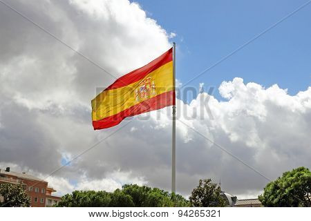 Flag Of Spain In Madrid