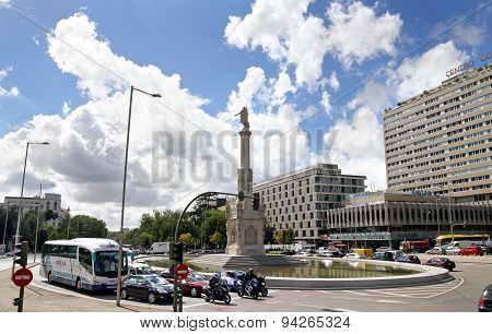 Columbus Circle And Columbus Monument In Madrid