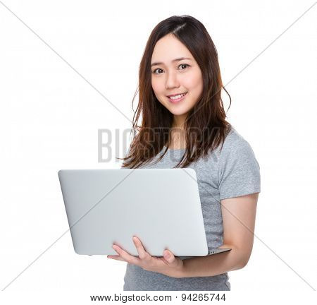 Young woman use of notebook computer