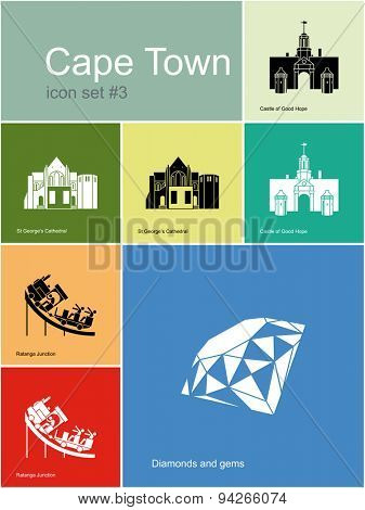 Landmarks of Cape Town. Set of color icons in Metro style. Raster illustration.