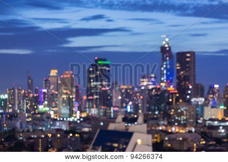 Blur bokeh of city lights skyline background