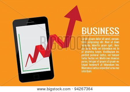 Mobile Phone With Business Graph