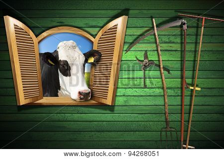 Agriculture And Livestock Concept With Open Window