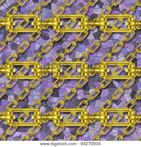 Iron Chains with Mosaic Seamless Generated Texture