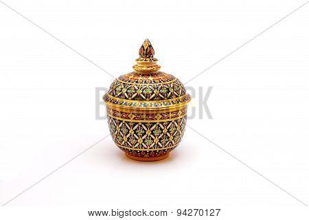 Ceramic jars, Benjarong (Bencharong), Thailand